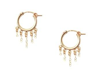 14K Gold Filled Hoop - Gold filled Hoops - Gold Hoops - 14K Gold Filled Earrings - Gold Chain Hoops - Gold Filled Chain Earrings