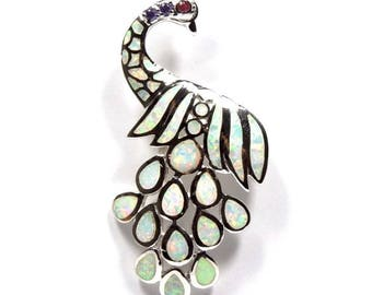 White Fire Opal Inlay Solid 925 Sterling Silver Large Size Peacock Pendant For Necklace