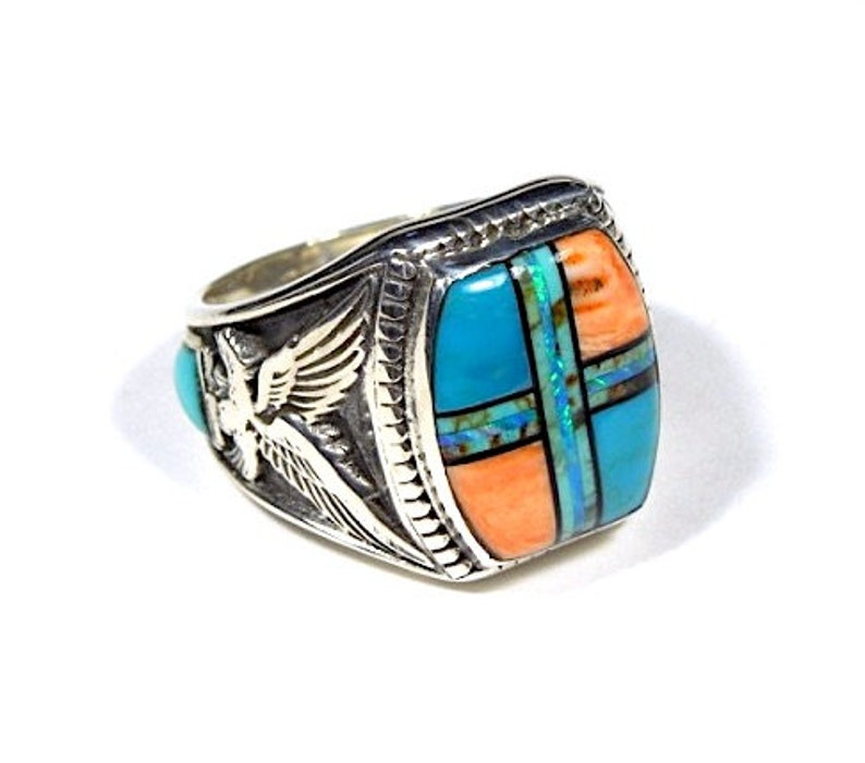 Southwetern Multcolor Inlay 925 Sterling Silver Eagle Men/'s Ring Size 8.25-9