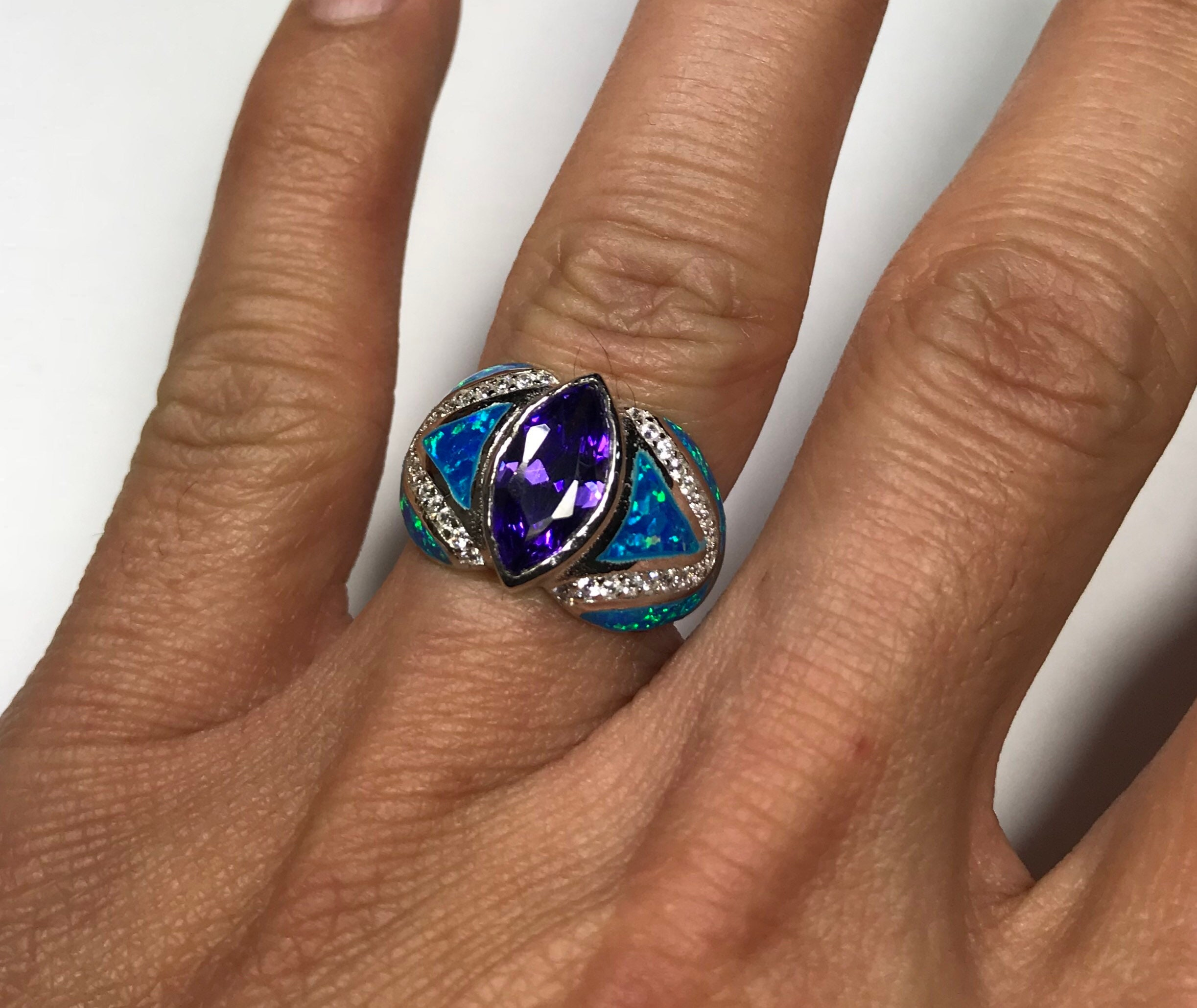Amethyst /& Blue Fire Opal Inlay Genuine 925 Sterling Silver Ring size 7,8,9