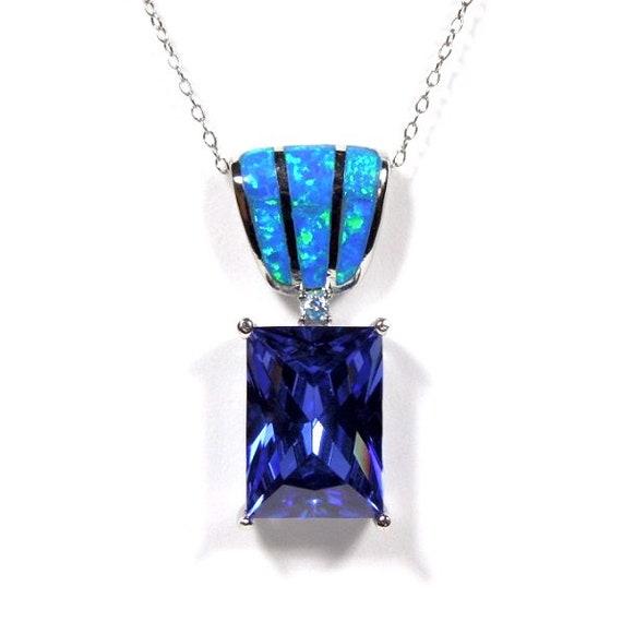 Blue Fire Opal /& Tanzanite 925 Sterling Silver Huge Turtle Pendant
