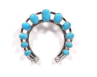 Handmade Kingman Turquoise Stone 925 Sterling Silver Naja Pendant