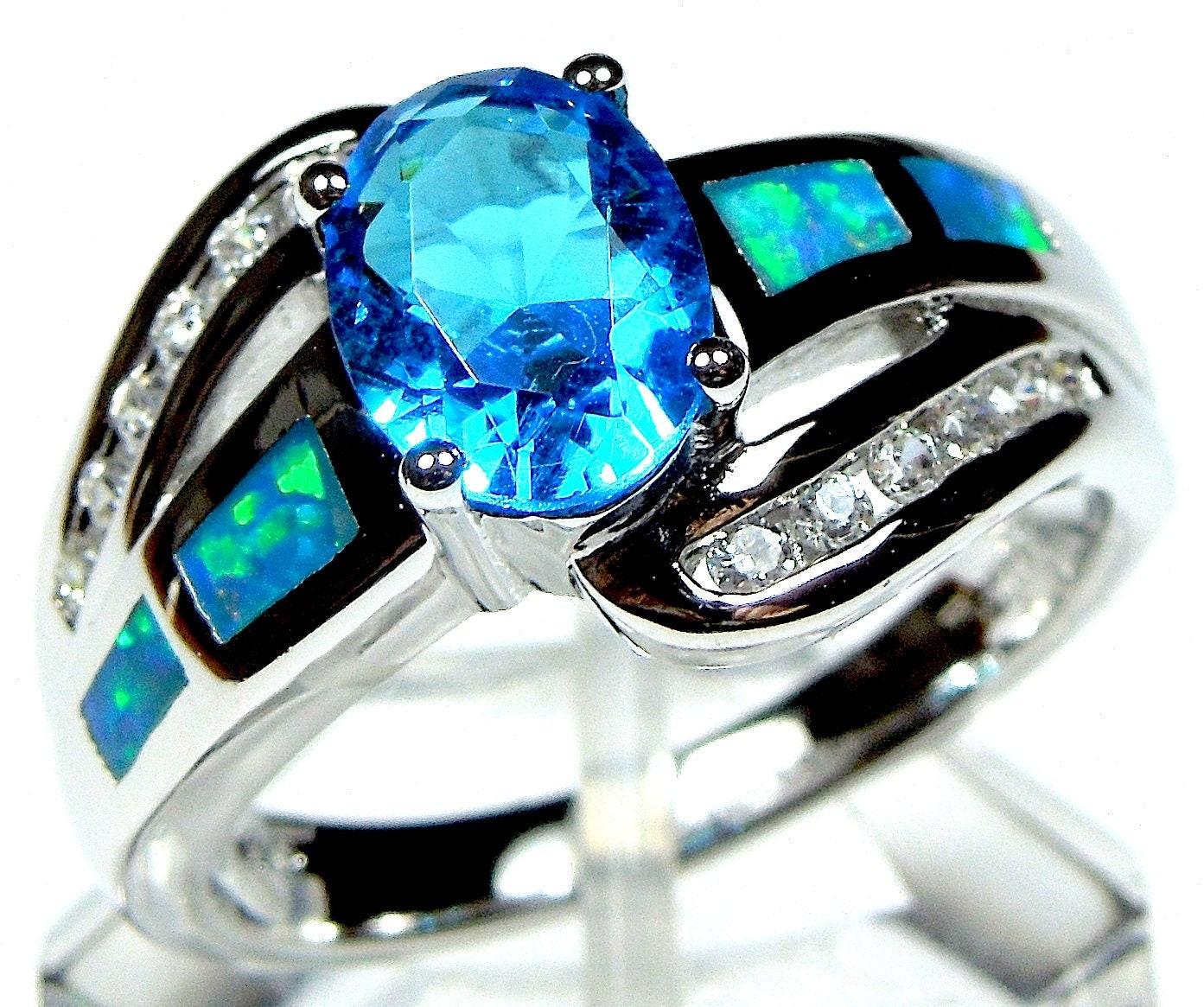 Stunning 925 Sterling Silver Fire Opal /& White Topaz Bangle Bracelet 19cm