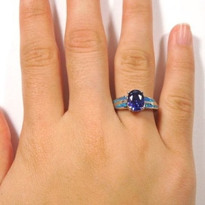 Details about  /Tanzanite /& Blue Fire Opal Inlay Solid 925 Sterling Silver Ring size 6,7,8,9