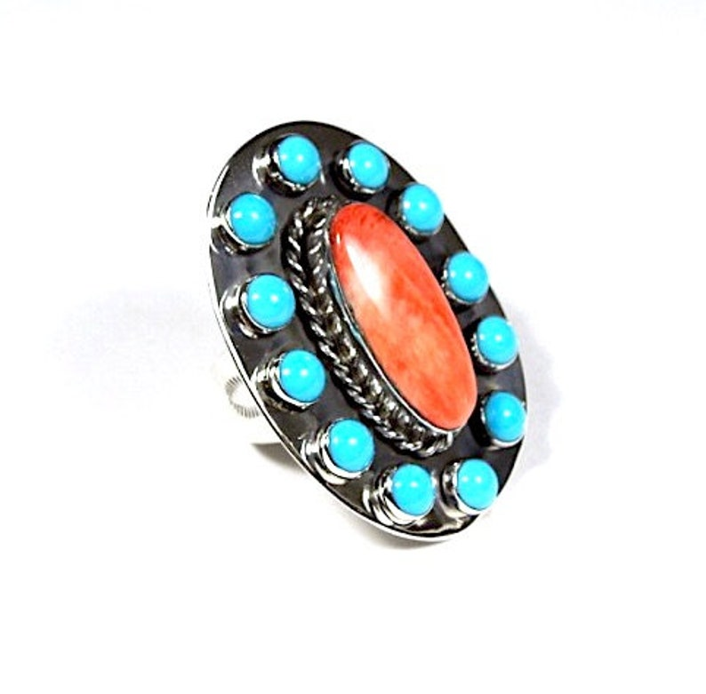 Sleeping Beauty Turquoise and Spiny Oyster 925 Sterling Silver cluster Ring size 7-7.5
