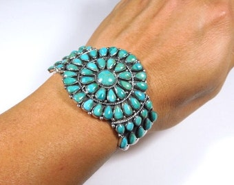 Southwest style Kingman Turquoise 925 Sterling Silver Cluster Cuff Bracelet. USA Seller