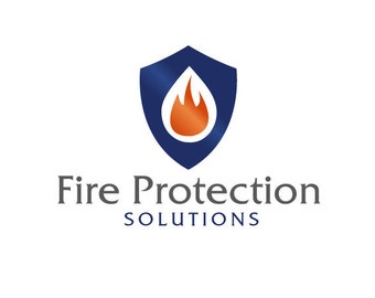 Fire Shield Logo Design.  Premade Logo Design.  Fire, Protection, Shield, Security.  Customized for ANY business logo.