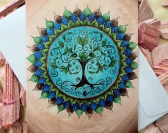 "Spirit Energy Card ""Mandala Tree of Life"" incl. envelope"