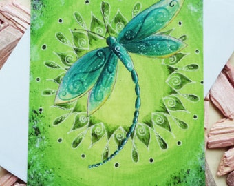 """Power animal card """"Dragonfly"""" incl. envelope"""