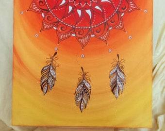 """Original Mandala picture """"Orange"""" 50 x 50 cm"""