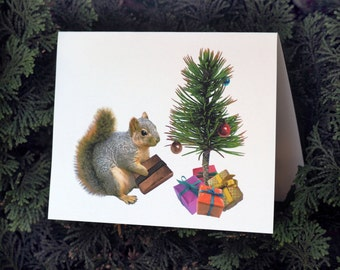 Squirrel Printable Christmas Card, Printable Squirrel with Little Christmas Tree Christmas Card