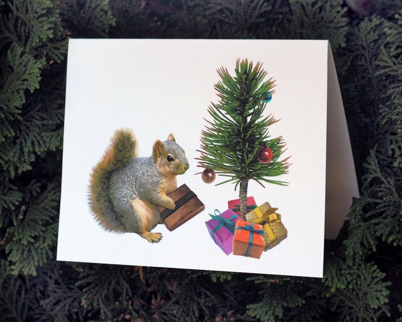 graphic about Printable Photo Christmas Card titled Squirrel Printable Xmas Card, Printable Squirrel with Minimal Xmas Tree Xmas Card