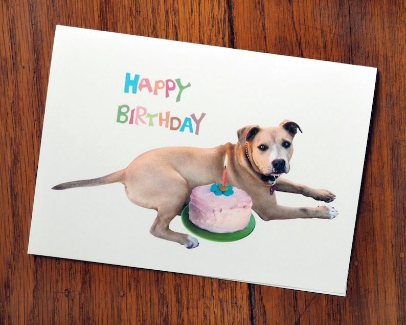 Dog With Cake Printable Birthday Card
