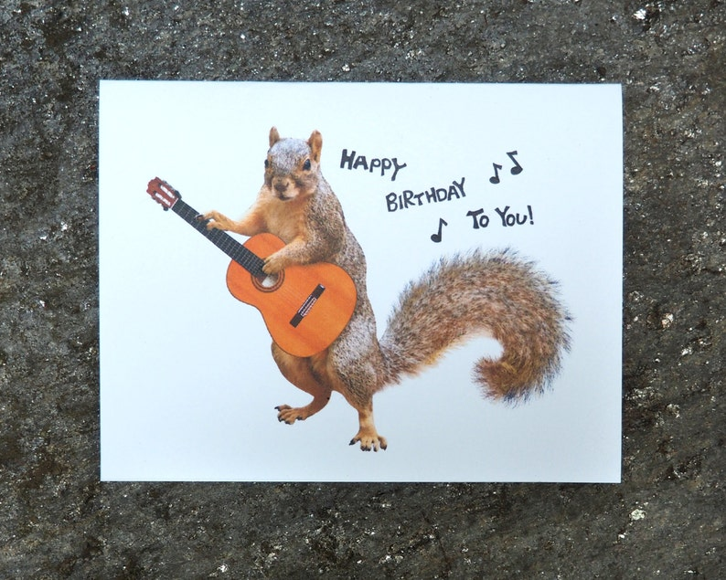 Squirrel Playing Guitar Happy Birthday Printable Card