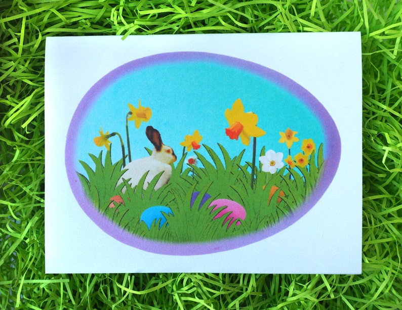 image regarding Grass Printable called Bunny inside of Egg with Bouquets and Gr Printable Easter Card