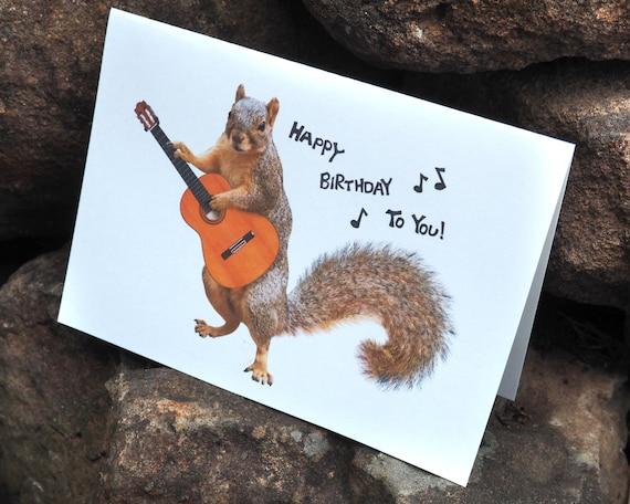 Squirrel Playing Guitar Happy Birthday Printable Birthday Card Etsy