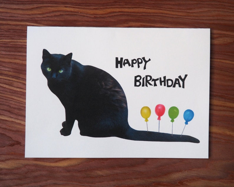 Black Cat With Balloons Printable Birthday Card