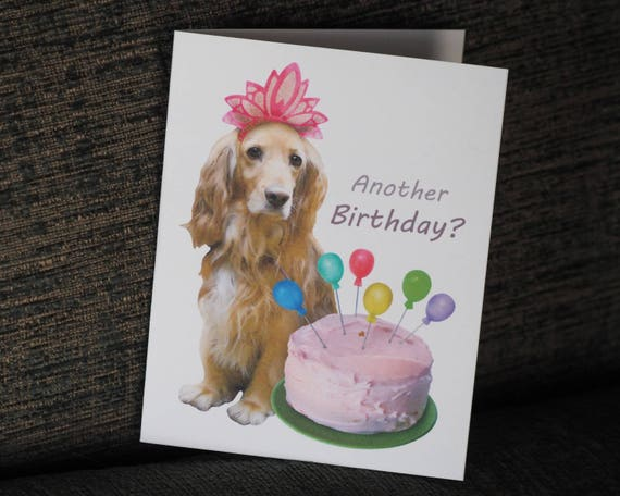 Dog With Balloon Cake Printable Birthday Card Digital