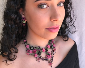 PRETTY ROSE GARDEN Statement Necklace by Vintage Jewelry Designer Colleen Toland