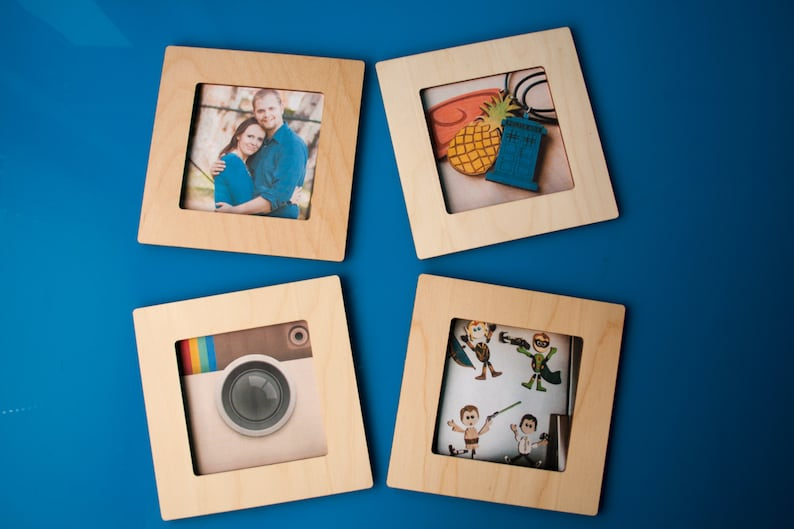 Square Magnetic Wood 4x4 Photo Frame - Display Instagram Photos on  Refrigerator - Wooden Fridge Magnet - Home Decor - Gift Idea - Memories
