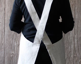 Irish Linen Cross Back Apron for makers and bakers