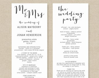 wedding program template printable wedding program diy etsy