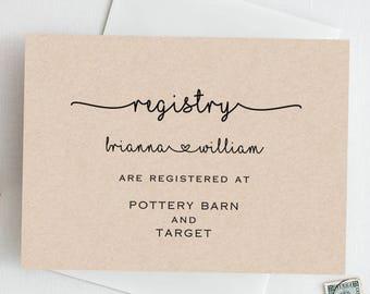 wedding registry card printable wedding invitation enclosure etsy