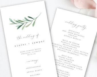 Greenery Wedding Program Template Printable Simple Tea Length EDIT In TEMPLETT Violet