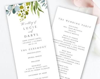 Greenery Program Printable Wedding Template Tea Length EDIT In TEMPLETT Lucie