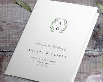 Greenery Wedding Programs Template Watercolor Wreath Program Printable Folded Wedding Program Template Order of Service TEMPLETT Amelia