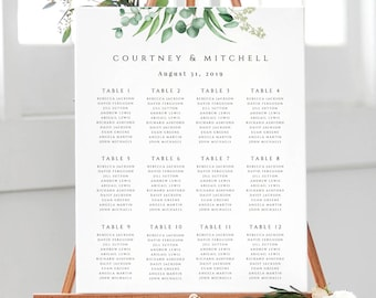 Greenery Wedding Seating Chart Template Printable Eucalyptus Seating Plan Template Seating Chart Poster EDIT in TEMPLETT Courtney