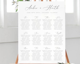 calligraphy seating chart printable wedding seating chart template seating chart poster printable template edit in templett amber