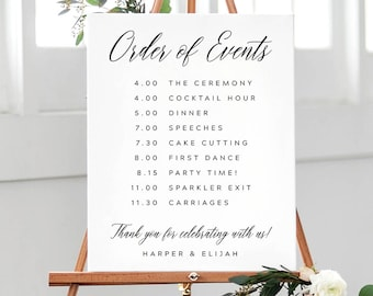 Wedding Reception Order Of Events.Order Of Events Sign Etsy