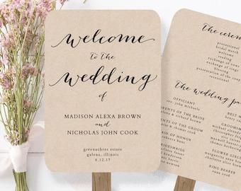 Wedding Program Fan Template - printable rustic wedding fan - EDITABLE by YOU in Word - calligraphy style - print on Kraft
