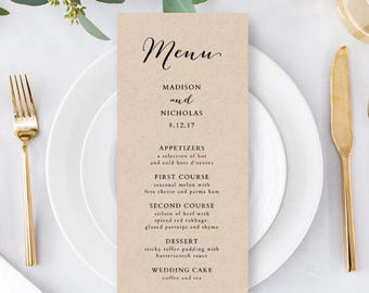 Wedding Menu Template - Rustic Wedding Menu - Printable Menu - YOU edit in WORD - print on Kraft