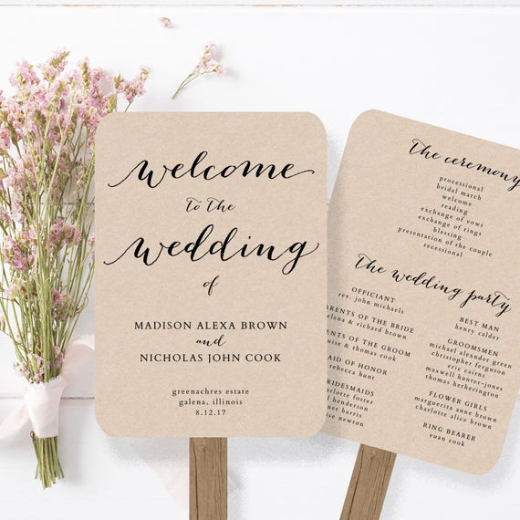 Wedding Program Fan Template Printable Rustic Wedding Fan Etsy