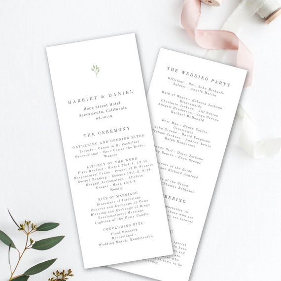 printable wedding program template order of service template etsy