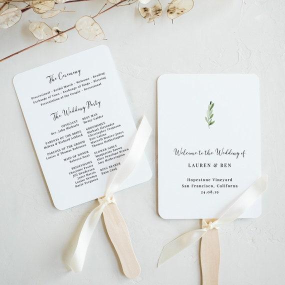 Greenery Wedding Program Fan Template Printable Wedding Fan Etsy
