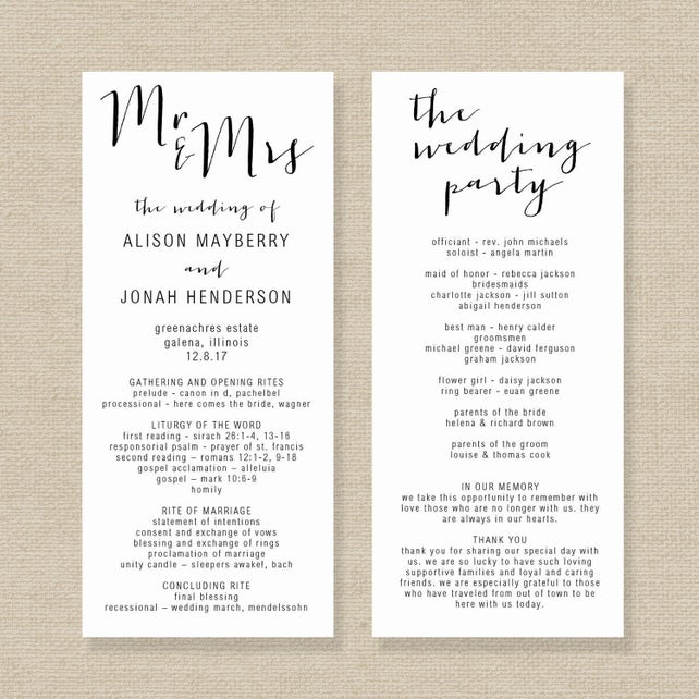Wedding Program Template Editable Wedding Program Rustic | Etsy