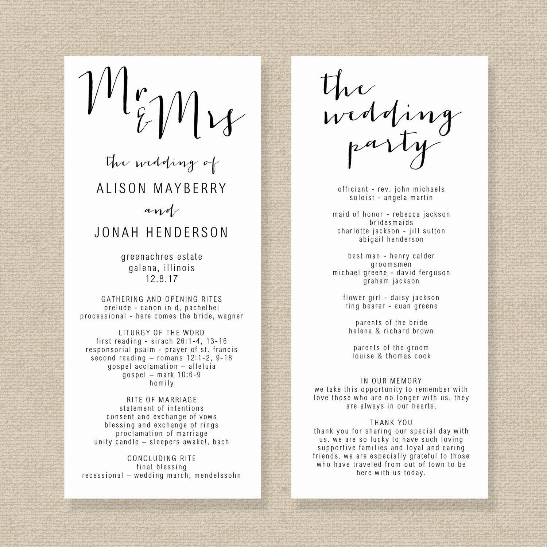 Wedding Program Template Editable Wedding Program Rustic  Etsy