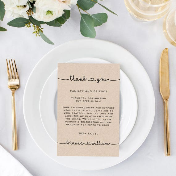 Rustic Wedding Thank You Cards Template Printable Editable Etsy