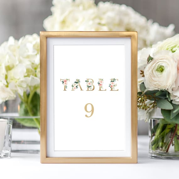 gold and floral printable wedding table numbers template etsy