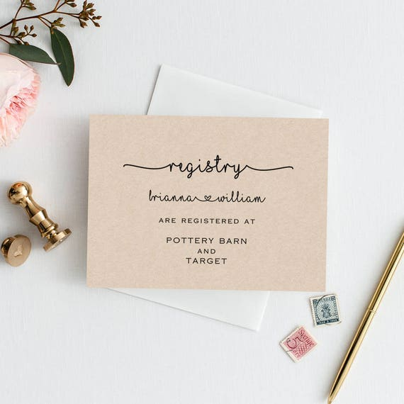 Wedding Registry Search By Name: Wedding Registry Card Template Editable Wedding Enclosures