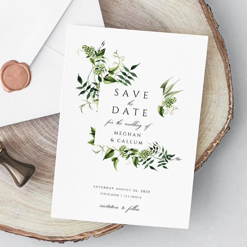 photo about Printable Save the Date identify Printable Help save the Day Template, Greenery Help save the Day Printable Template, Eco-friendly Leaves Conserve the Day Card, EDIT inside of TEMPLETT, Meghan