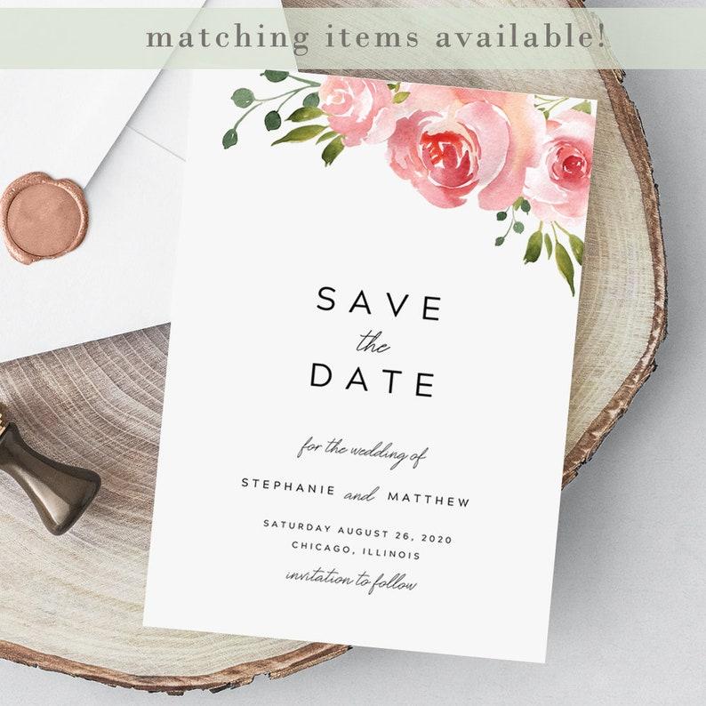 Floral Wedding Invitation Template Stephanie Printable Watercolor Wedding Invitation EDIT in TEMPLETT Blush Wedding Invitation Suite