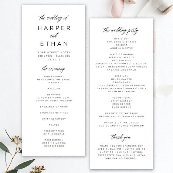 black and white wedding program printable wedding program etsy