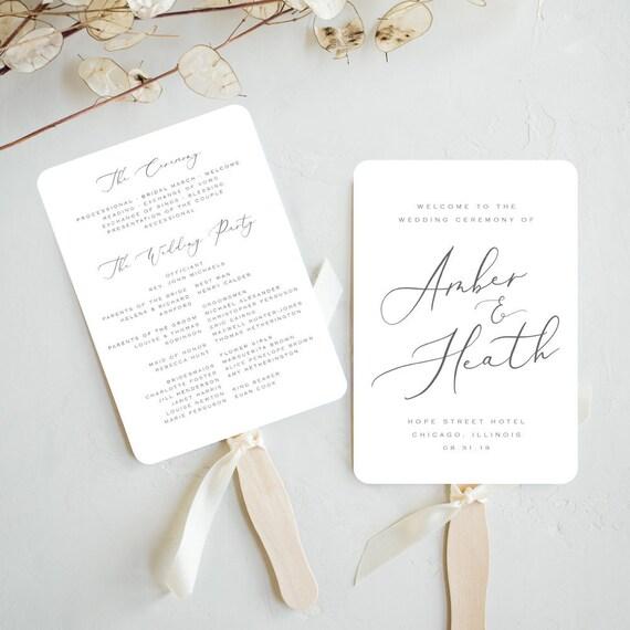 Wedding Fan Template Printable Wedding Program Fan Template Etsy