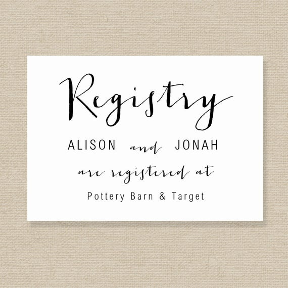 wedding registry card template gift list printable gift etsy