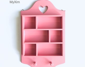 Pink wooden pegs, valentines shadow box, heart-shaped cut frame, girls room pink shadow box, pink wall hanging box, pink display shadow box.
