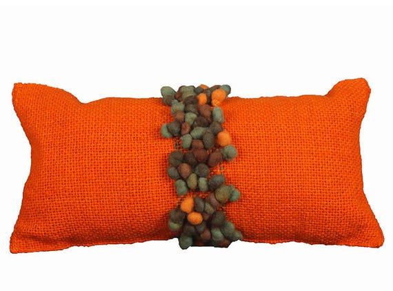 Orange Pillows With Brown Knots Orange Pillows Etsy